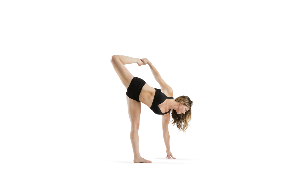 Dancer variation. Huge heart opener and backbend. You can modify by softening the grounded knee. 5 breaths