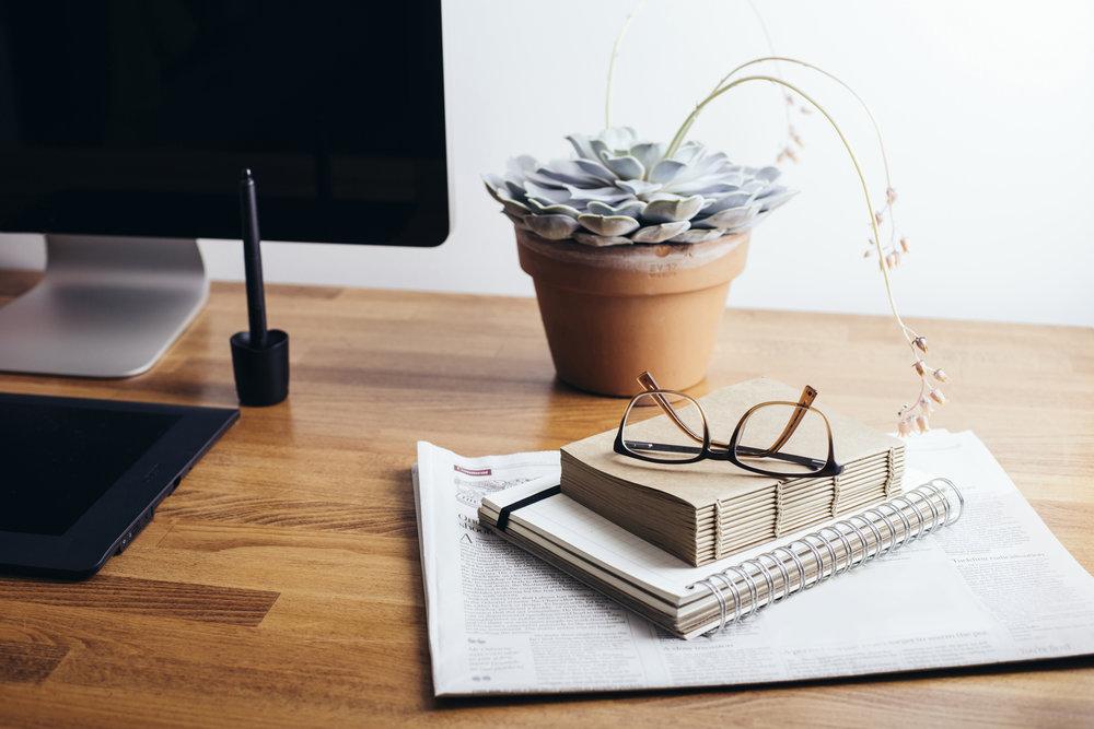 Desk - desktop, succulent, papers.jpeg
