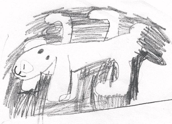 Kätevät pikkutytöt piirtävät väritettävät kuvat itse. Tässä lemmikkipehmoeläin Silkkitassu kokokuvassa.