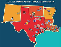 A collection of CSN Houston's college programming. A little off topic, but a good indication of the coverage area. Sorry for the small picture, it was the best I could find.