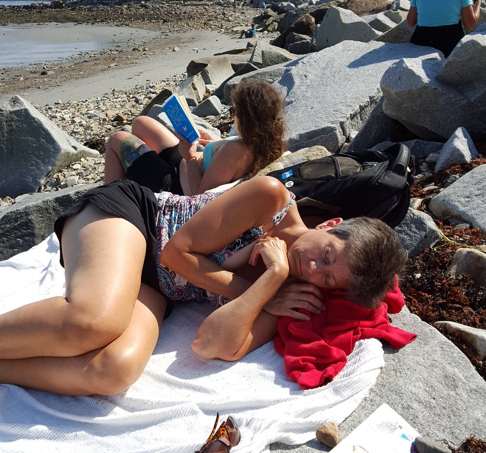"""""""Maine Beach 2016"""" - We made our annual summer trip to Maine, but I was not up for hiking, kayaking, or physical activity of any kind. Sleeping on the warm rocks was all I could handle"""