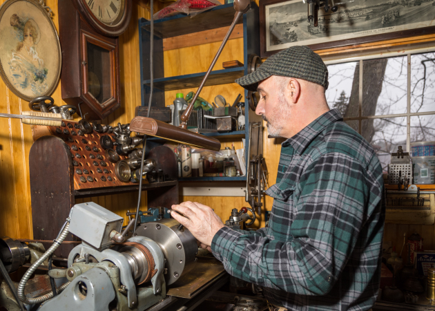 Working the metal lathe - fixing an old clock part. (Cynthia Vogan Photography)