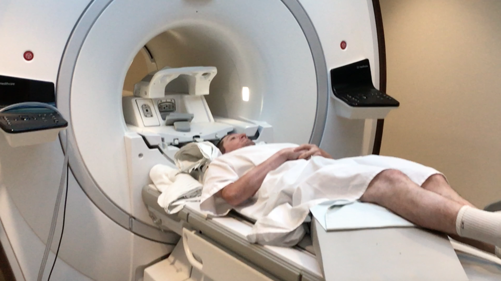 Getting an MRI as part of a study.