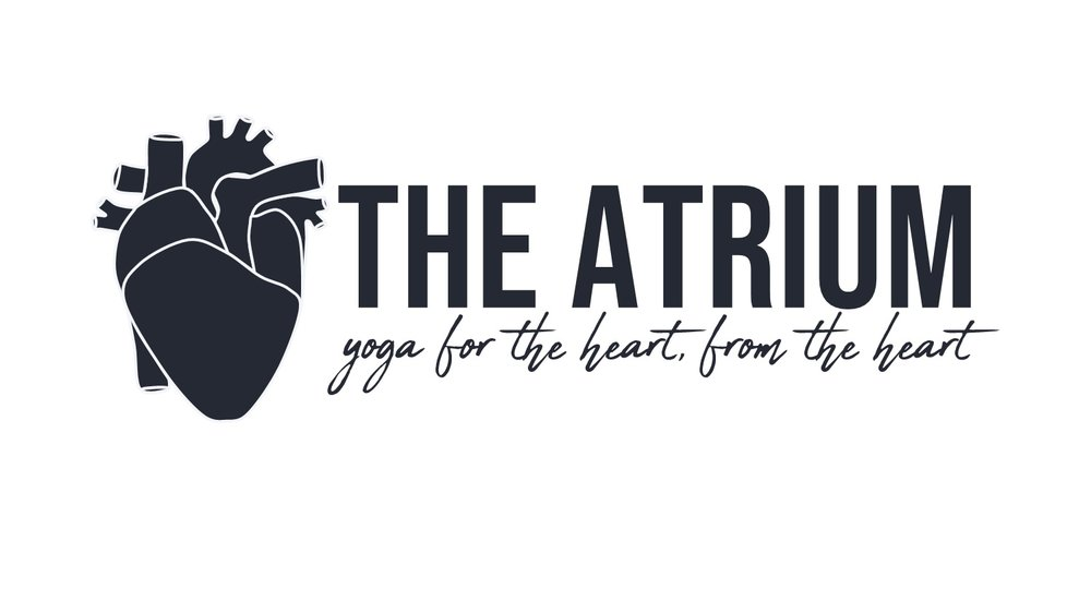 Logo1- white outline navy fill white background navy the atrium outside yoga for the heart.png