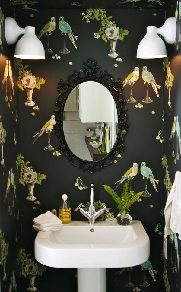 What a fun powder room!