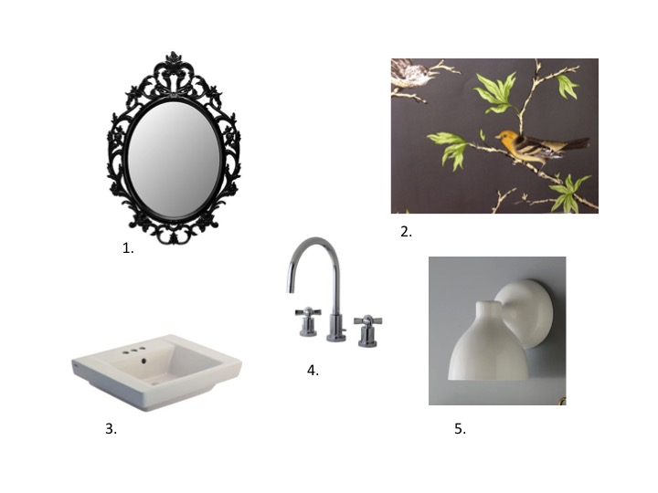 1. Ung Drill Mirror $24.99, Ikea  2. Villa Fiori $240/per roll, Gaston Y Daniela  3.  Boulevard sink including pedestal $209, Home Depot  4. Millennium faucet $208, Kingston Brass  5. Contour Single Sconce $49, West Elm