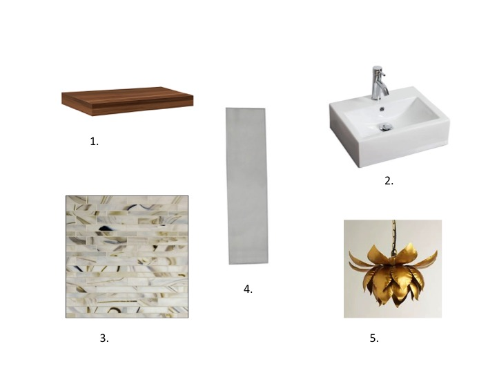 1. Dolle walnut floating shelf $33.99, Bluestone Shelves 2. American Imaginations sink $246.75, Home Depot 3. Metropolitan glass tiles in Juno $27.50/sqft, Mosaic Tile USA 4. Frameless mirror $14.99, Target 5. Gold Lotus pendant $99.99, World Market