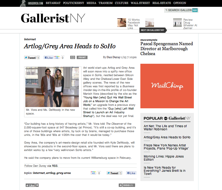 'ARTLOG/GREY AREA HEADS TO SOHO' FEATURED BY THE NEW YORK OBSERVER ON GALLERISTNY.COM