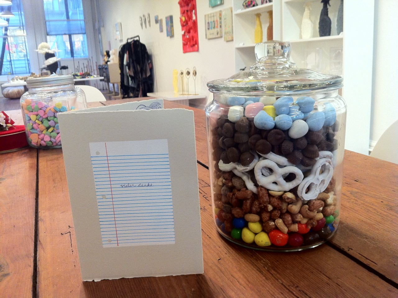 OUR SHOWROOM JUST GOT THIS NEW YUMMY SNACK JAR COURTESY OF THE GRACEFUL BALLERINA, PATRICIA ZHOU DANKE DANKE DANKE.