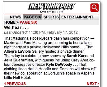 SPOTTED IN PAGE SIX:   KYLE AT  ALLEGRA LAVIOLA'S  LAVISH DINNER TO CELEBRATE SARAH KURZ THIS PAST THURSDAY