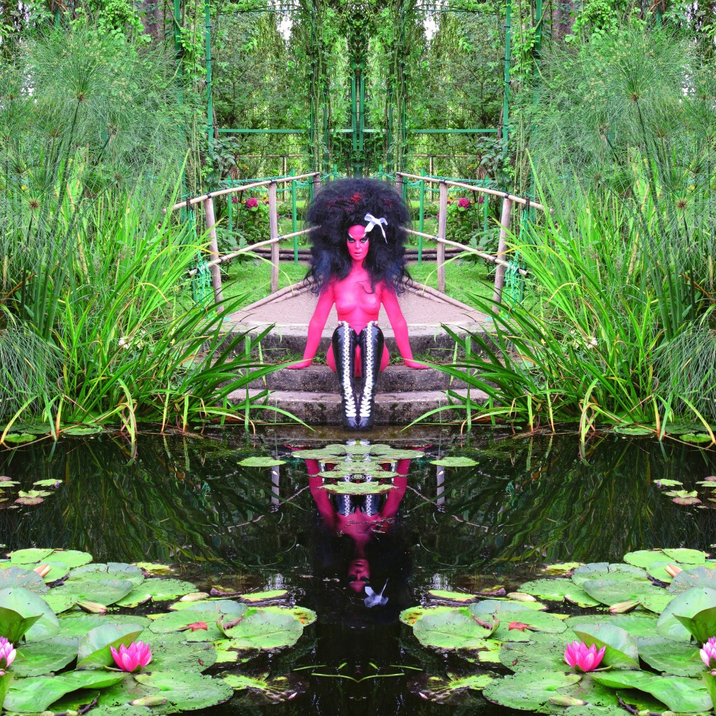 Opening tonight at The Hole is  GREY AREA 's artist and friend,  E.V. Day  who collaborated with Kembra Pfahler to create photographic works in the famous Giverny gardens  immortalized  in paint by Claude Monet. The duo with the help of Playboy have turned the gallery into a living breathing garden.