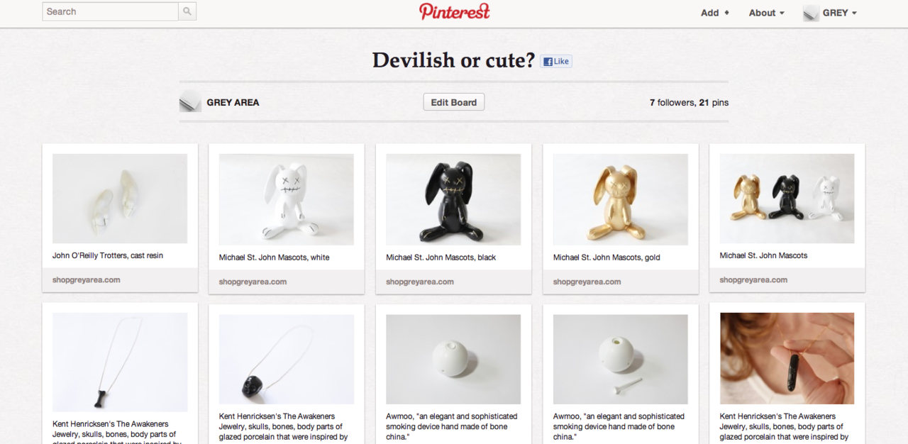 Help decide on  Pinterest  which of your favorite  GREY AREA  products are ' Devilish or cute? ""