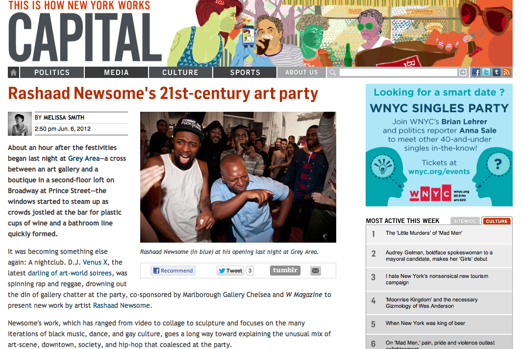 CAPITAL  reports on Rashaad Newsome party hosted by W Magazine at  GREY AREA