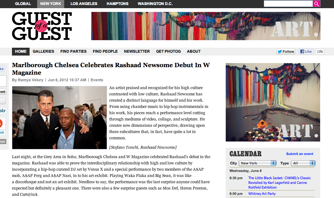 Guest of a Guest  reports on Rashaad Newsome party hosted by W Magazine at GREY AREA