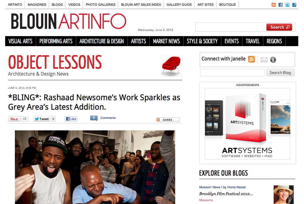 ART INFO  posts another article on Rashaad Newsome's party hosted by W Magazine at GREY AREA