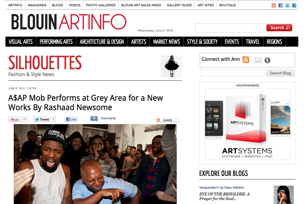 ART INFO reports on A$AP Mob rap group that performed for Rashaad Newsome event hosted by W Magazine at GREY AREA
