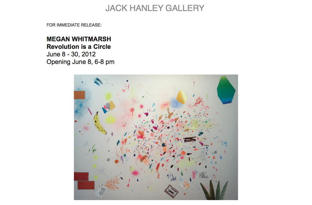 "GREY AREA artist,  Megan Whitmarsh , opens a new solo show at  Jack Hanley Gallery  called ""Revolution is a Circle."""