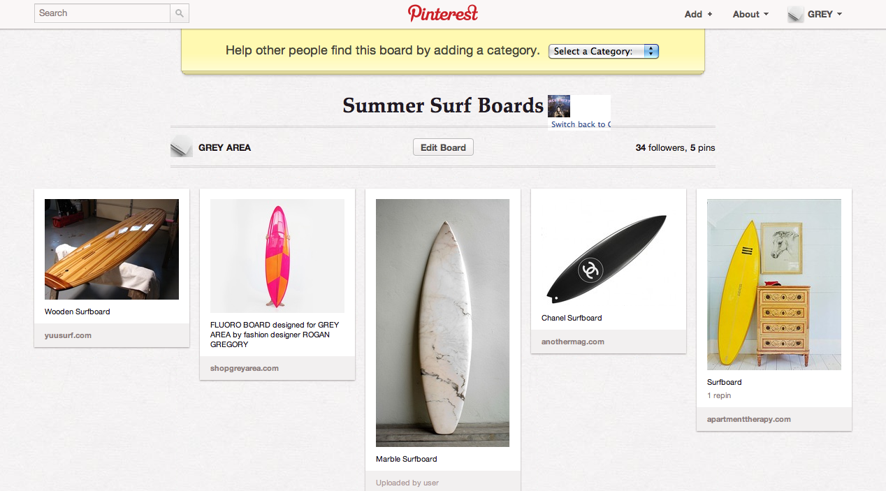 Check out some colorful surfboards on our Pinterest  here , including  ROGAN GREGORY's  board for GREY AREA!