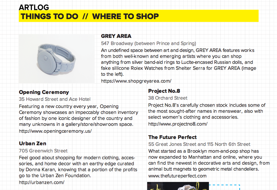 Check out  ARTLOG's   Summer Art Guide  featuring  GREY AREA !