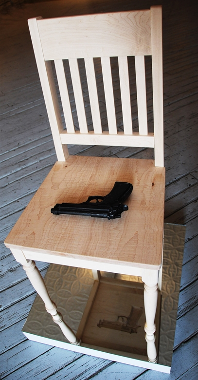 Sebastian Errazuriz's Gun Chair No. 2 is in GREY AREA's SoHo showroom