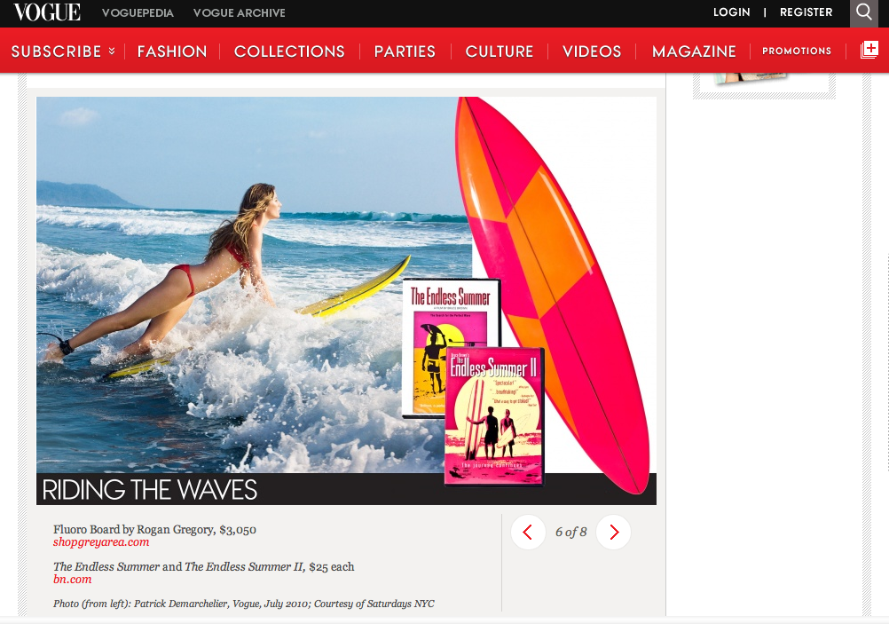 Vogue  names  GREY AREA 's Rogan surfboard as  one of the summer's top 10 great hostess gifts!