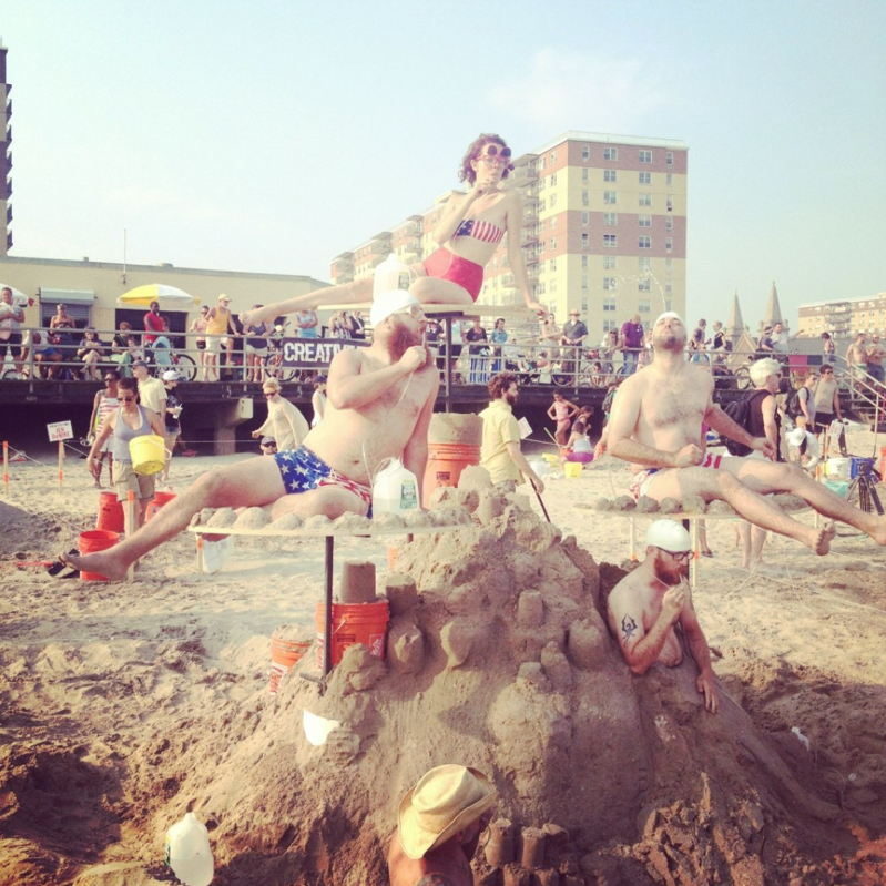 Congrats to Creative Time sandcastle competition golden shovel winners Jennifer Catron and Paul Outlaw for their Human Fountain! CHECK OUT SOME OTHER ARTISTS' CREATIONS: https://www.facebook.com/SHOPGREYAREA