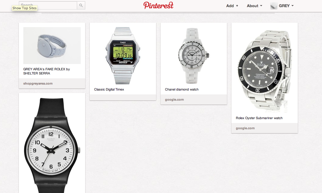 "Check out GREY AREA's Pinterest board of our favorite watches - especially our very own ""Fake Rolex"" by SHELTER SERRA"