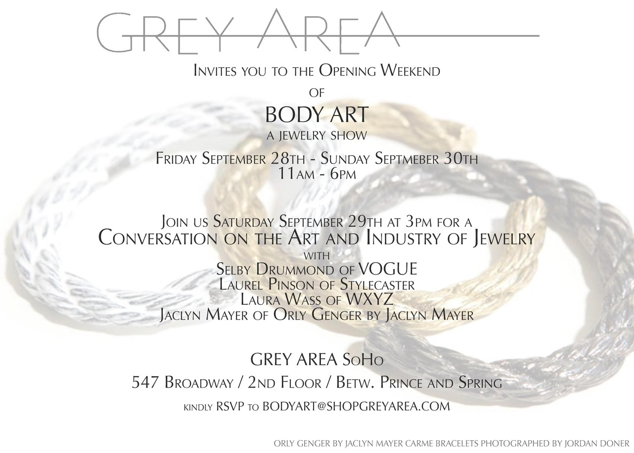 Join us this weekend for BODY ART at GREY AREA, the culmination of a year of sourcing artist-created or artfully-designed jewelry in new and traditional materials.