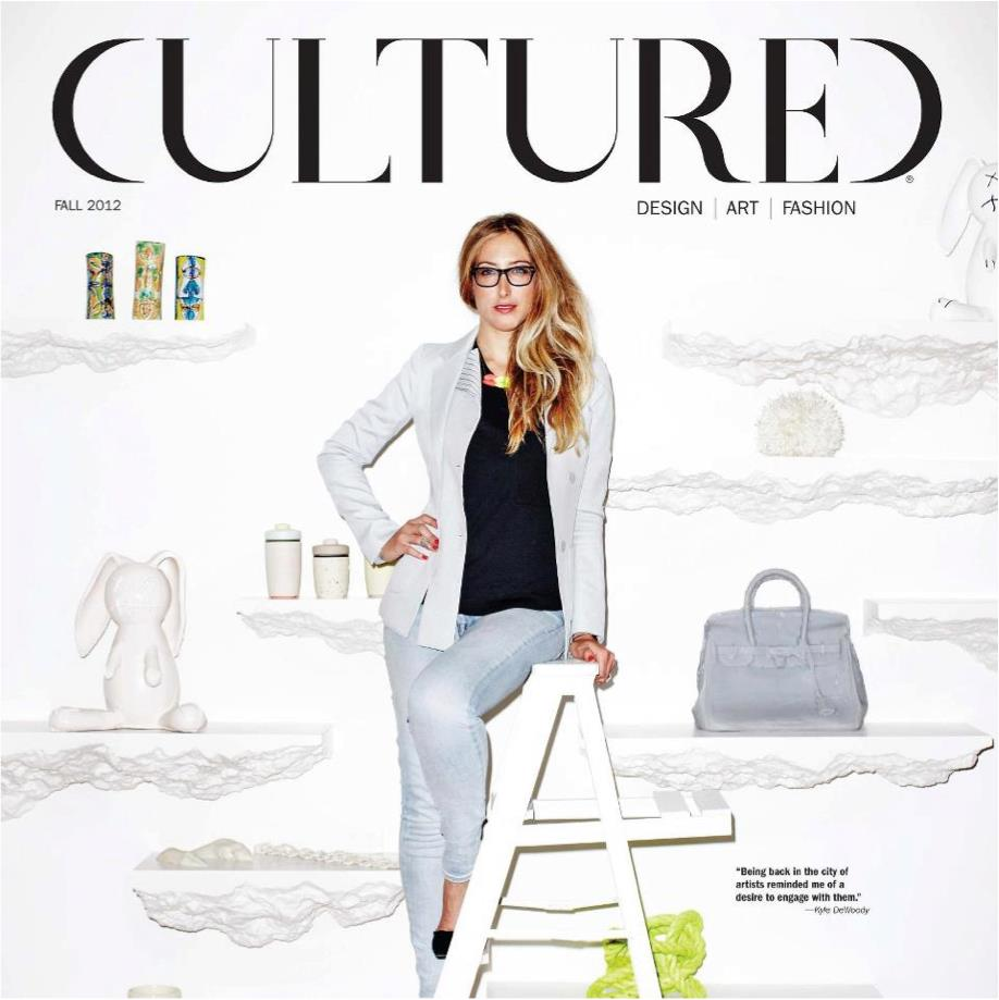 GREY AREA's Kyle DeWoody on the cover of Cultured Magazine in front of Snarkitecture's Shelve at our SoHo showroom.