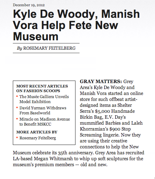 WWD Fashion article: Kyle De Woody, Manish Vora Help Fete New Museum