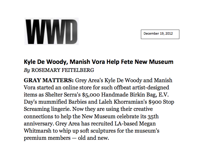 WWD article on the GREY AREA & New Museum collaboration