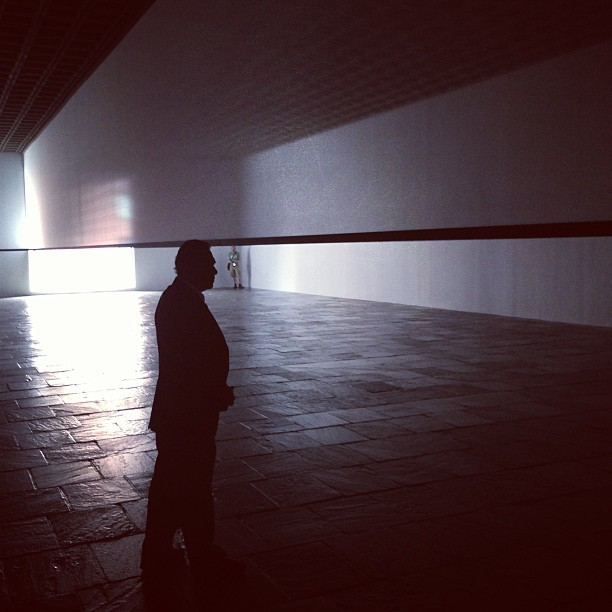 "It's a quiet Sunday in the haze of Robert Irwin's ""Scrim Veil"" at the Whitney #greyarealightgram #greyvisits"