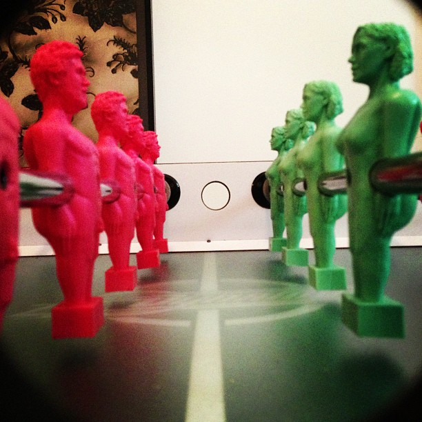 It's Man vs Wife on @masteroliverclegg's foosball table #battleofthegenders #greydesign