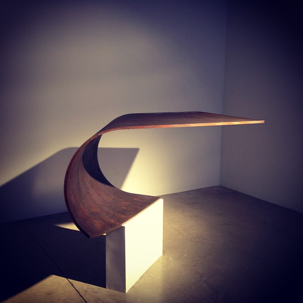 "Favorite piece of the night: Paul Cocksedge's ""Poised"" tables #thursdaynightfavorites #greyarea"