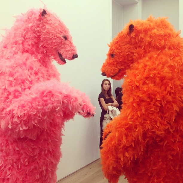 #tbt to feathered bears and the much anticipated opening of @emmanuelperrotin's New York space #greyvisits #paolapivi #perrotin