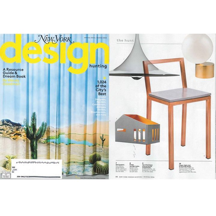 Pumped to peep our Assembly Copper Slight Chair in Design Hunting's winter guide. Thank you New York Magazine for the beautiful feature!    http://bit.ly/17tA2JA
