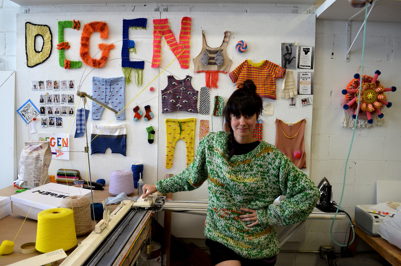Lindsey Degen in her studio at the Brooklyn Navy Yard
