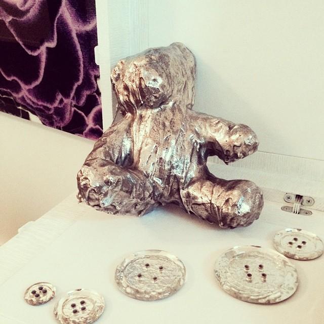 Good morning indestructible teddy #livingwithart #cherylekstrom