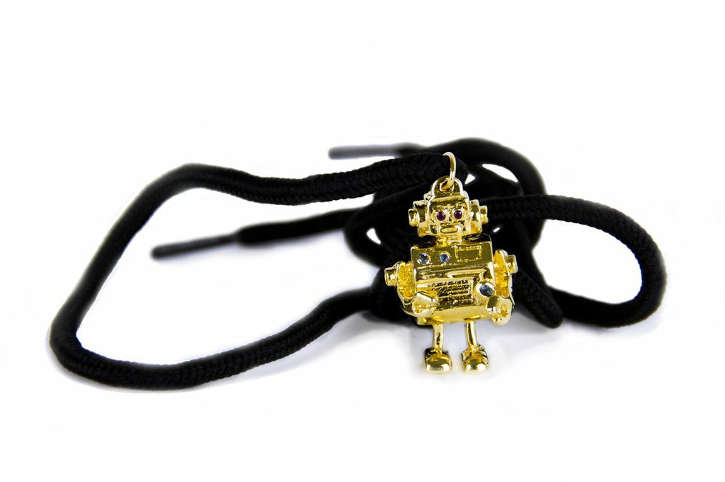 Tie me up, tie me down.     Robot Necklace  by Mia Fonssagrives Solow
