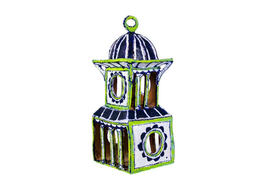 For the birds.     Lime, White & Cobalt Birdhouse Pavilion  by Elisabeth Kley