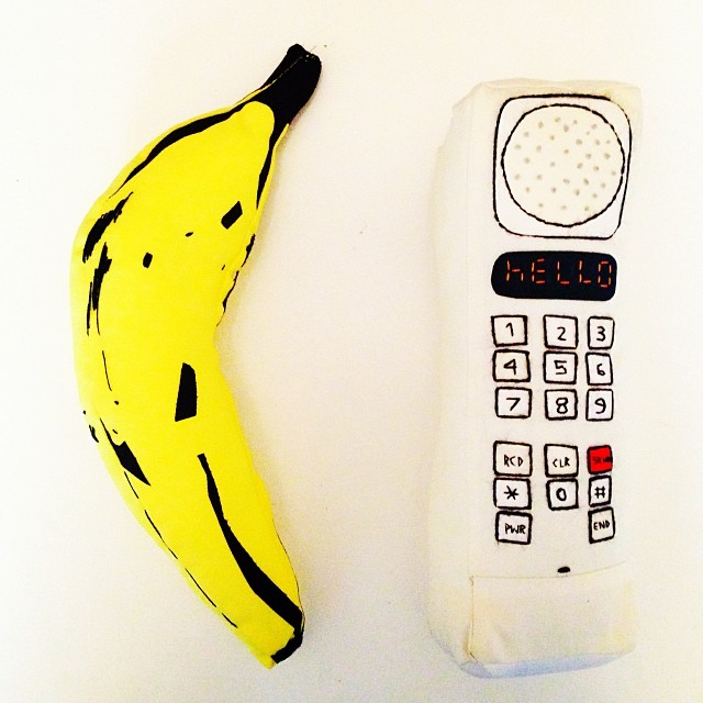 Banana. Phone.     Soft Sculptures  by Megan Whitmarsh