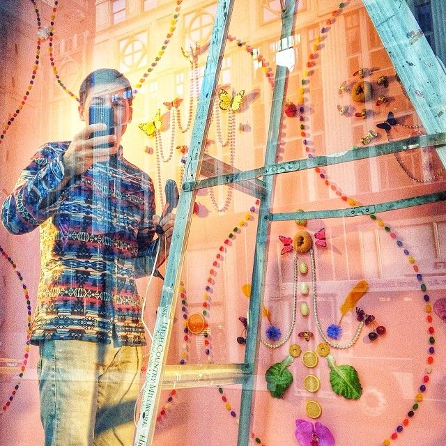 bergdorfgoodman: ART MATTERS ! mixed media artist Adam Parker Smith pauses from his #bgwindows install curated by @shopgreyarea . (at Bergdorf Goodman)