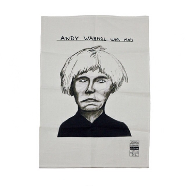 Andy Warhol was mad.    Tea Towels  by David Shrigley
