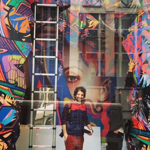 "@petergerakaris installing his piece ""Rappaccini Oragami Terrarium"" in the window of @bergdorfs for #ARTMATTERS #BGWindows #GreyAreaForBG #10Artists10Spaces"