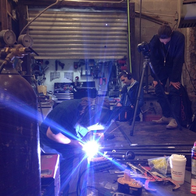 sparks flying. shooting at the metal shop with director Casey Anderson @lampandboat. #thegreyscreen #versatable
