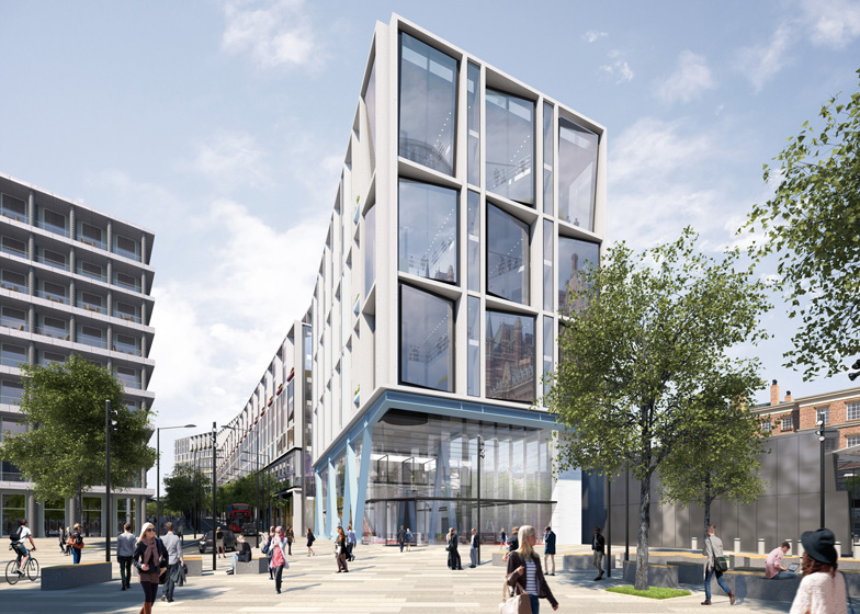 Check out Google's architectural plans to consolidate the London headquarters into one modern building!  Dezeen     reports  that Google's new 11-storey building will feature a steel frame and bold primary colors, referencing the painted metal frames belonging to nearby railway stations.