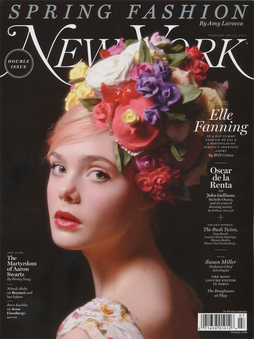 GREY AREA artist WILL COTTON photographs actress Elle Fanning for the Spring 2013 Fashion Issue of New York Magazine —The looks are made from candy treats inspired by the collections from the Spring 2013 runways— See all of Will Cotton's Elle Fanning Fantasia photographs in his PORTFOLIO
