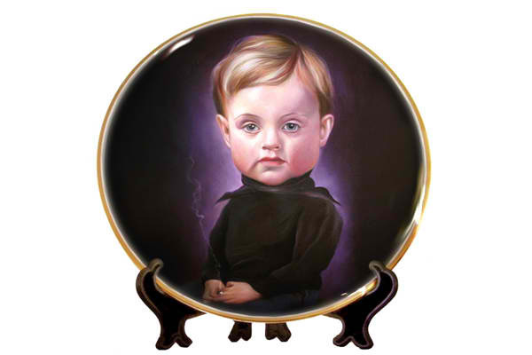 GENIUS PLATE by NIR HOD Inspired by his solo exhibition at the Paul Kasmin Gallery in New York, Hod encapsulates his series of over fifty portrait paintings of peculiarly alluring children clad in grandoise outfits and outlandish hairdos, with the GENIUS PLATE, now available at GREY AREA.
