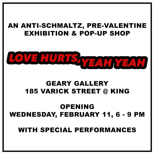 TOMORROW February, 11 6-9 pm come by LOVE HURTS curated by Maureen Sullivan featuring fun editions from GREY AREA and more @raygeary @baronvonfancy @carltondewoody @misakikawai  get your valentine or antivalentine groove going