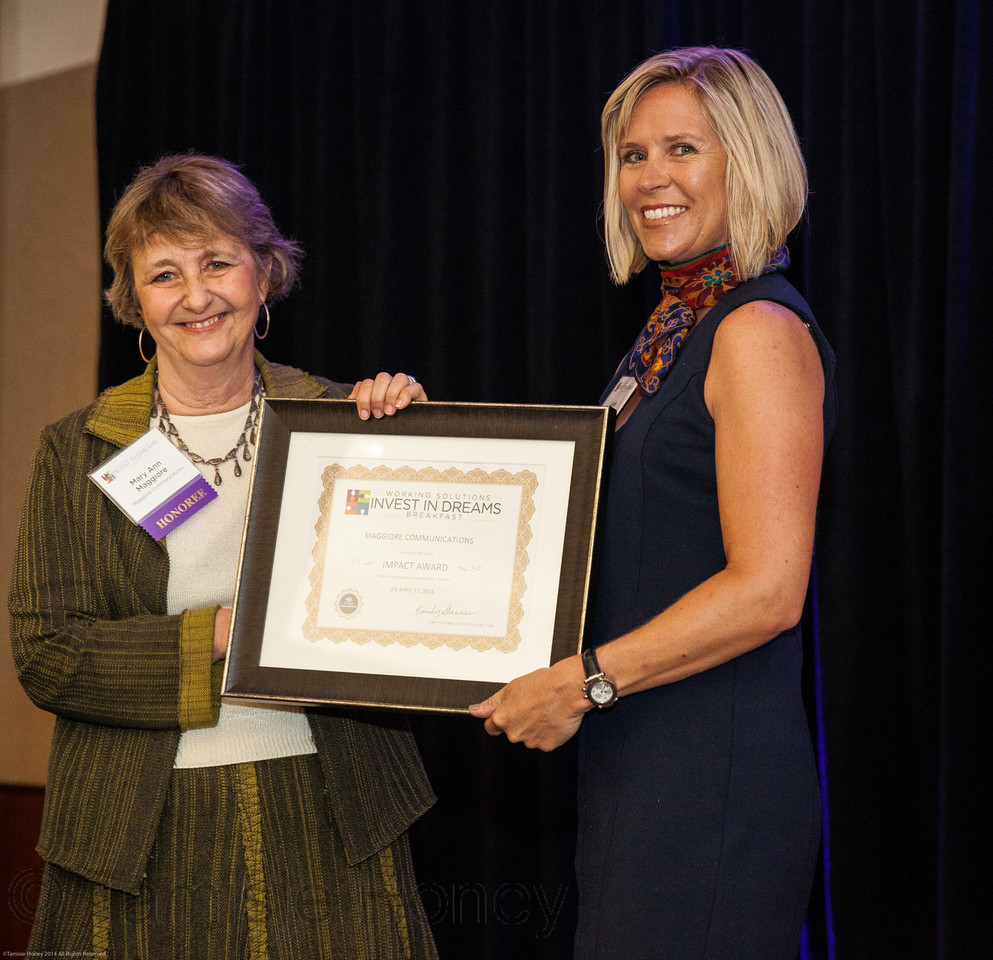 Laurie presents the 2014 Invest in Dreams Award to Working Solutions client Mary Ann Maggiore